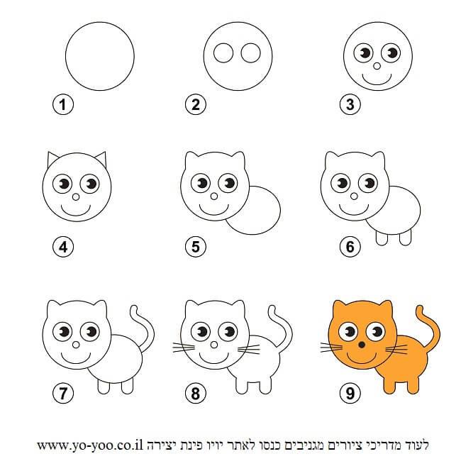 לצייר חתול בשלבים