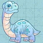 פאזל של דינוזאור לילדים בחינם למחשב או לפלאפון, בחרו את מספר החלקים שאתם רוצים, תערבבו אותם ותרכיבו.