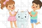 פאזל חינוכי לילדים של צחצוח שיניים למחשב או לפלאפון, בחרו את מספר החלקים שאתם רוצים, תערבבו אותם ותרכיבו.